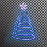 Blue neon Christmas tree. Light tree effect with big star Stock Photography