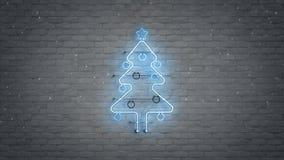 Blue neon christmas tree symbol and snowfall 3D rendering. Blue glow neon light christmas tree symbol and snowfall. 3D rendering royalty free illustration