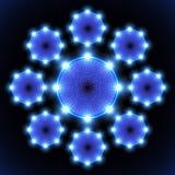 Blue neon circle Stock Photos