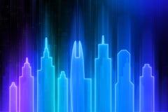 Blue neon city wallpaper vector illustration