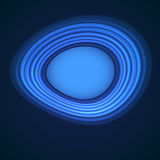 Blue neon distortion circles on black background. Fractal objects. Place for text. Vector illustration stock illustration