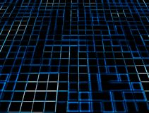 Blue Neon Glowing Tiles Stock Photo