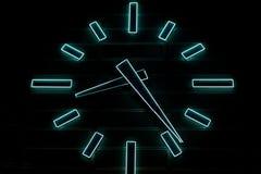 Blue neon huge clock Stock Photo