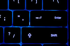 Blue neon Keyboard Royalty Free Stock Image