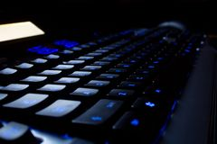 Blue neon Keyboard Royalty Free Stock Photography