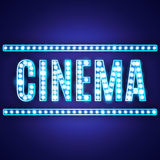 Blue neon lamp cinema sign stock illustration