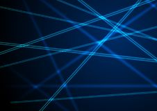 Blue neon laser beams lines abstract background. Shiny futuristic vector design Stock Photos