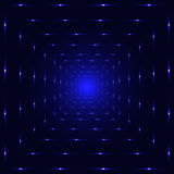 Blue neon laser perspective tunnel Royalty Free Stock Photo