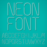 Blue Neon Letters. Neon Letters, Alphabet On A Blue Background Stock Images