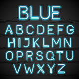 Blue neon light alphabet with cable Stock Photo