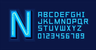 Blue Neon Light Alphabet Font Royalty Free Stock Image