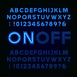 Blue Neon Light Alphabet Font. Two different styles. Lights on or off. Type letters, numbers and symbols. Vector typography for animation, labels, titles stock illustration