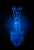 Blue neon light bulb Royalty Free Stock Photo