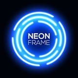 Blue neon light circle. Shining round techno frame Royalty Free Stock Photos