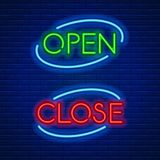 Neon signs open and close Royalty Free Stock Images
