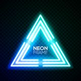 Blue neon light triangle. Gradient techno frame. Blue neon light triangle. Gradient delta Techno frame. Night club electric bright 3d sign. Banner design on Stock Photo