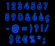Blue neon numbers on black Stock Photography