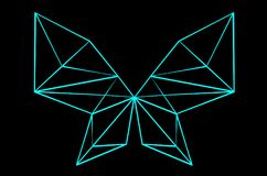 Blue neon polygon butterfly on black background 3D illustration. Bright blue neon polygon butterfly on black background 3D illustration royalty free illustration
