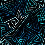 Blue neon seamless pattern Stock Images