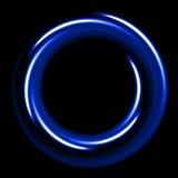 Blue neon shinig circle from fibers on black background. Template with blue neon shinig circle from fibers on black background Royalty Free Stock Photo