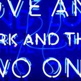 Blue Neon Sign. Illuminated Blue Neon Retro Royalty Free Stock Image