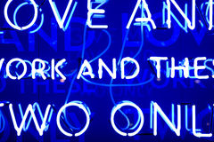 Blue Neon Sign Stock Photography