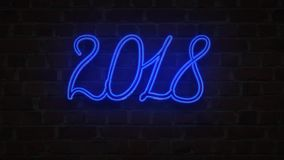 Blue Neon signboard 2018 happy new year lighting up against a Brick wall stock illustration