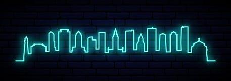 Blue neon skyline of Miami city. Bright Miami long banner. Vector illustration vector illustration