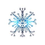 Blue neon snowflakes. Winter snowflakes hologram. Vector illustration on isolated background Royalty Free Stock Image