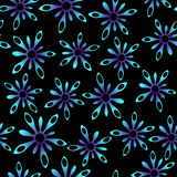 Blue neon splash flowers in space, seamless pattern Stock Image