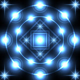 Blue neon square and circle Stock Photos