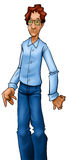 The blue nerd. Just a nerd guy standing wearing casual clothes vector illustration