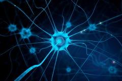 Blue nerve cell Stock Photo