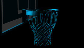 Blue net of a basketball hoop on various material and background, 3d render. Sports background, basketball hoop net Stock Image