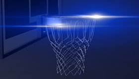 Blue net of a basketball hoop on various material and background, 3d render. Sports background, basketball hoop net Royalty Free Stock Image