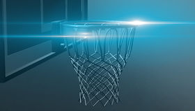 Blue net of a basketball hoop on various material and background, 3d render. Sports background, basketball hoop net Royalty Free Stock Photos