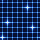 Blue net or grid with shinning stars - seamless background Stock Photo