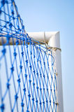 Blue net soccer goal Royalty Free Stock Photography