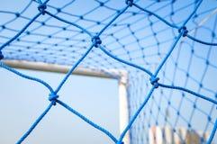 Blue net soccer goal Royalty Free Stock Image