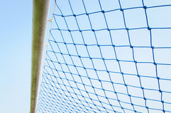 Blue net soccer goal Stock Photo