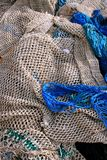 Blue nets for fishing background Royalty Free Stock Photography