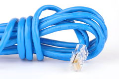 Blue network cable and connector Stock Photos