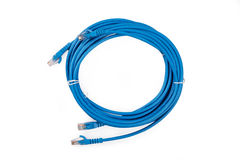 Blue Network Cable with molded RJ45 plug Royalty Free Stock Photo