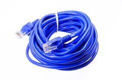 Blue network cable on white background Stock Photography