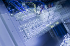 Blue Network Switch with zoom blur. Blue Network Switch with long exposure zoom blur effect Royalty Free Stock Photo