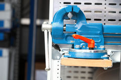 Blue new mechanical vice tool grip vise clamp. Blue new mechanical vice grip tool vise clamp industrial detail Royalty Free Stock Image