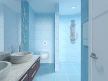 Blue New Modern Bathroom Interior Design Royalty Free Stock Images