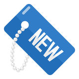 Blue New Tag Flat Icon Isolated on White Royalty Free Stock Photos
