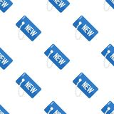 Blue New Tag Flat Icon Seamless Pattern Stock Image
