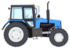 Blue new tractor. Agricultural machinery. Wheeled tractor Stock Images